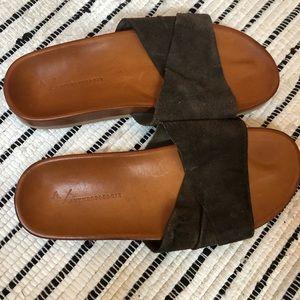 Dark Brown Suede Slides